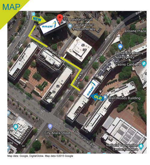 Map of AvSuper offices in Canberra